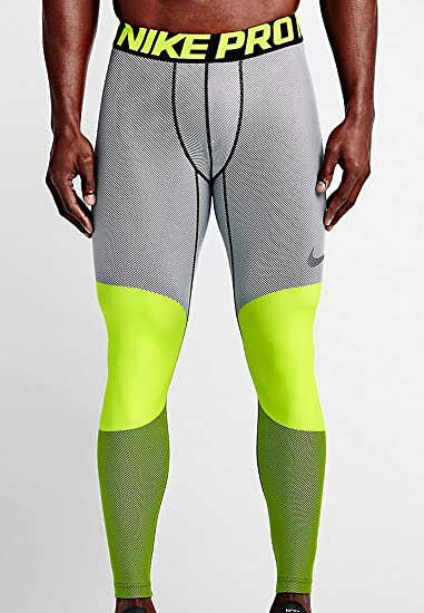 Nike Mens Pro Hyperwarm Lines Compression Tights Volt/Black 699970-702 Size  Small