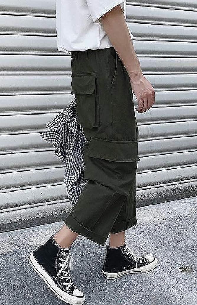 DressU Mens Washed Pockets Elastic Waist Pure Cargo Pants Casual Pants
