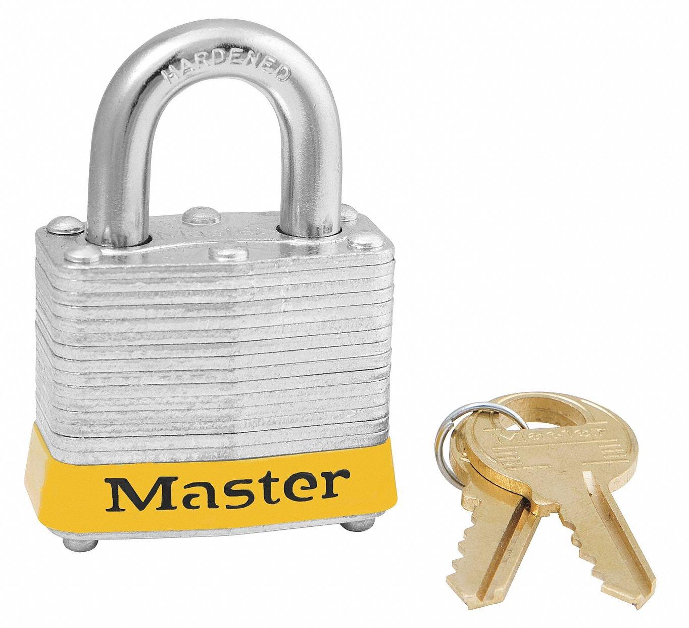 Master Lock Yellow Lockout Padlock, Alike Key Type, Master Keyed: No, Steel Body Material - 3KAYLW-0873