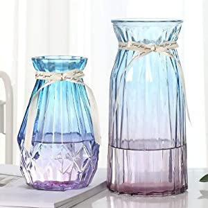 XILEI Glass Vases for Flowers,Blue Bud Vase Set of 2 ,Flower Vase Decorative for Home Decor, Desk Placement and Gift (D3)