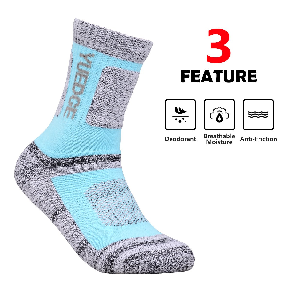 YUEDGE 3 Pairs Women's Women's Wicking Cushion Crew Socks Performance Workout Athletic Sports Socks (L) by YUEDGE (Image #2)