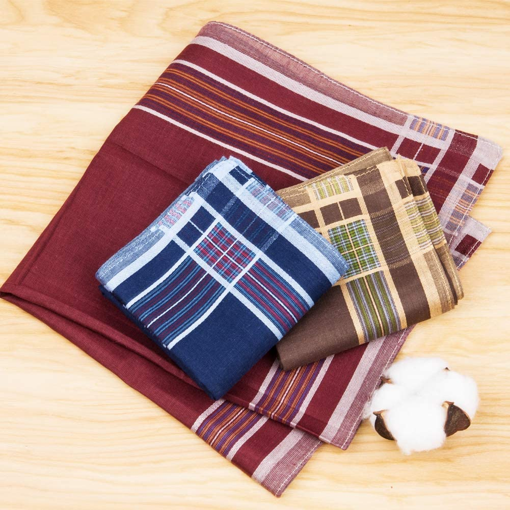 Houlife Mens 100/% 60s Cotton Striped Checked Pattern Handkerchief with Assorted Color Soft Vintage Hankie