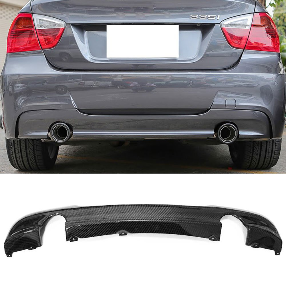 Rear Bumper Diffuser Fits 2006-2011 BMW E90   Sedan 335 Only OE Carbon Fiber CF Rear Bumper Lip Diffuser by IKON MOTORSPORTS   2007 2008 2009 2010
