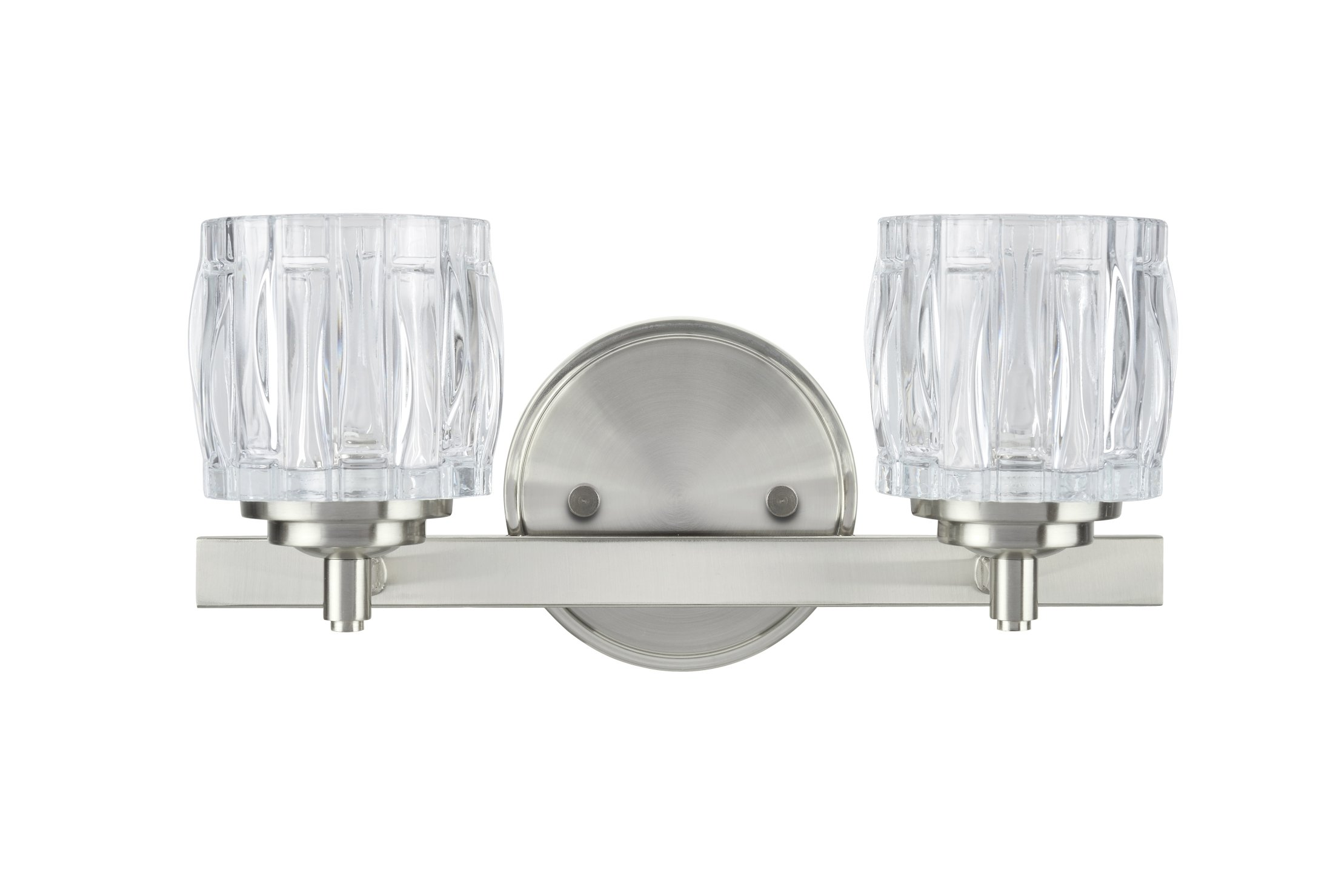 Aspen Creative 62110 2 Metal Bathroom Vanity Wall Fixture, 13 1/4'' Wide, Transitional Design Clear Glass Shade 2, 2 LIGHT, Brushed Nickel