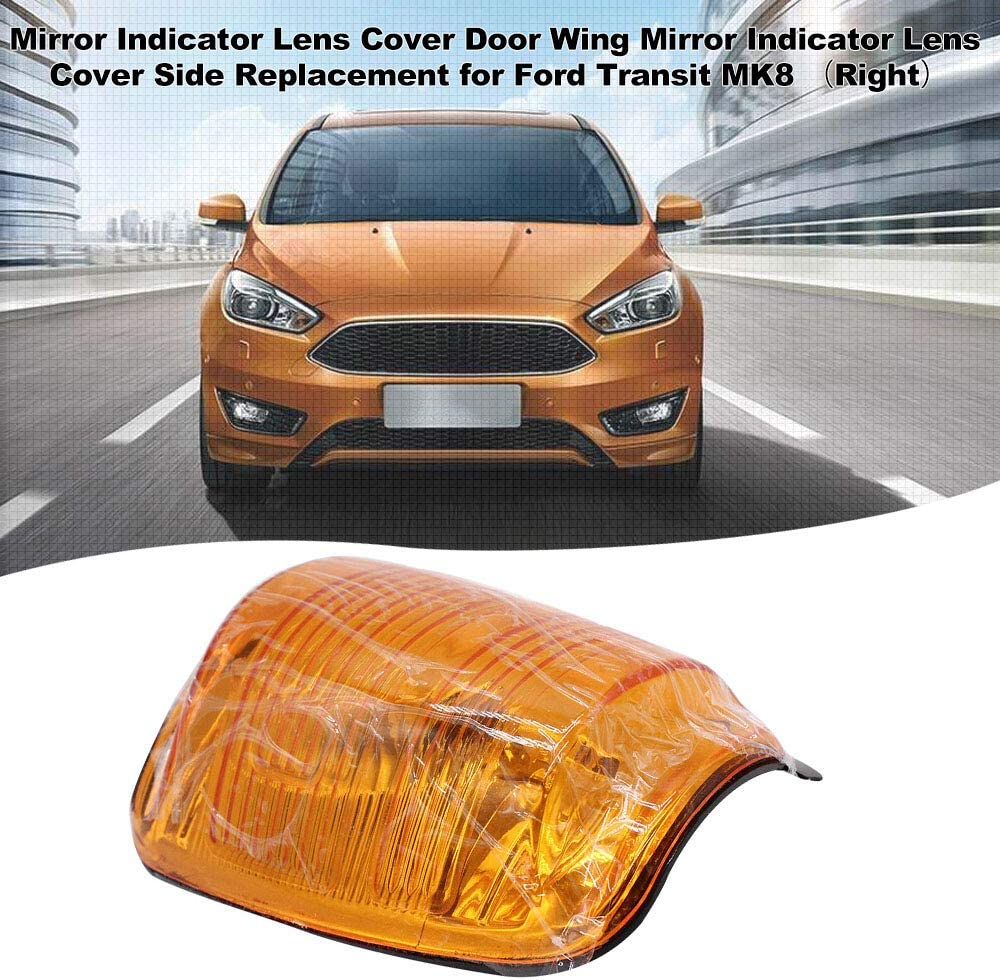 Benkeg Mirror Indicator Lens Cover,Mirror Indicator Lens Cover Door Wing Mirror Indicator Lens Cover Side Replacement for Ford Transit MK8 (Left)