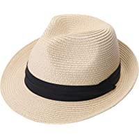532e269a12894d Lanzom Men Summer Straw Foldable Roll up Hat Fedora Beach Sun Hat UPF50+