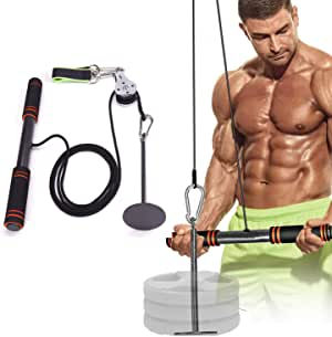 Tricep and LAT Pulley System | Foream Strength Exerciser Wrist Roller Forearm Weights Grip Workout with Pulley