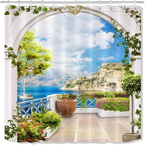 Amazon Com Lb Realistic European Arch Garden Scene Shower Curtain Summer Tree Lake Scenicbathroom Set 59 W X 70 L Fabric Shower Stall Curtain With 12 Hooks Home Kitchen