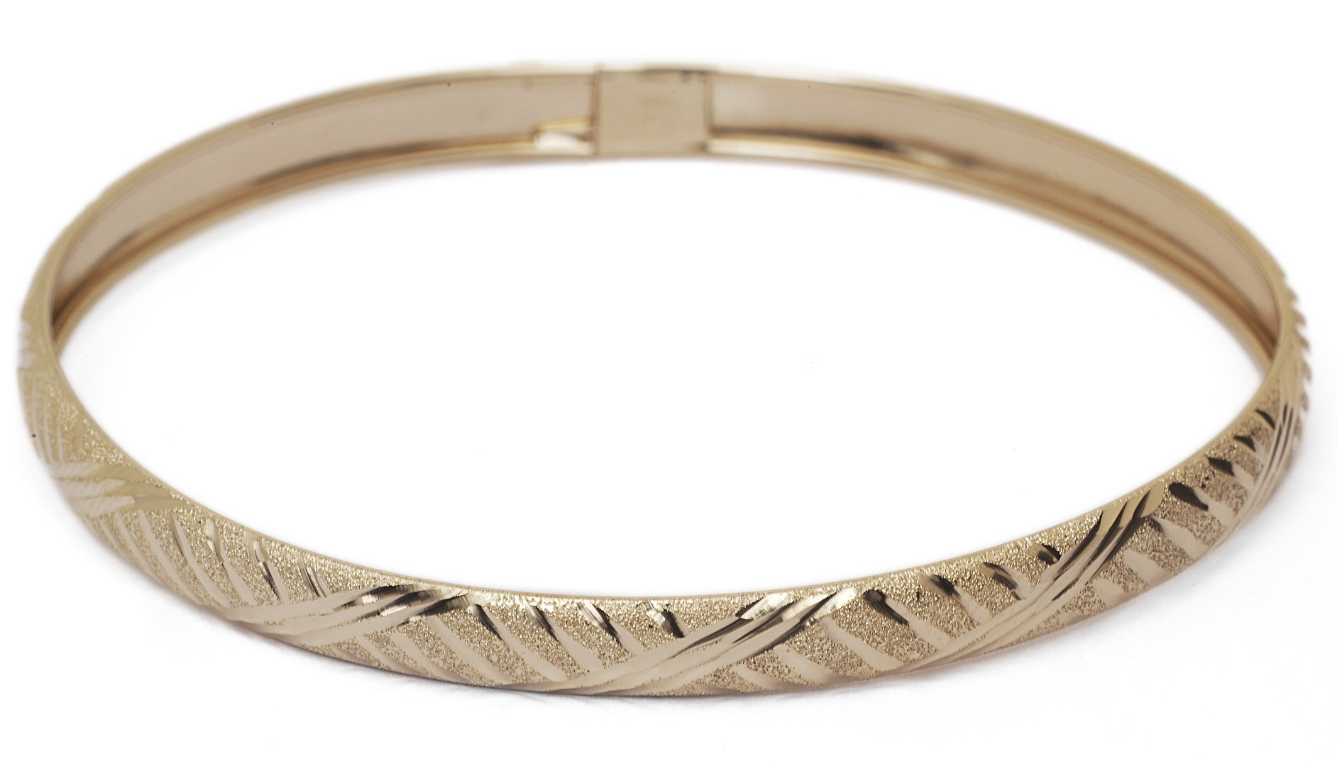 "7 Inch 10k Yellow Gold bangle bracelet Flexible Round with Diamond Cut Design (0.24"")"