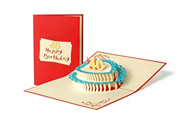 G142 Cake 40th Birthday Card Gift Vouchers Happy