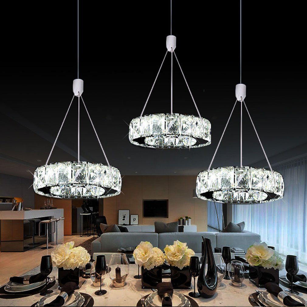 27W Elegant 3-Ringe LED Pendelleuchte Modern Luxus Höhenverstellbar ...