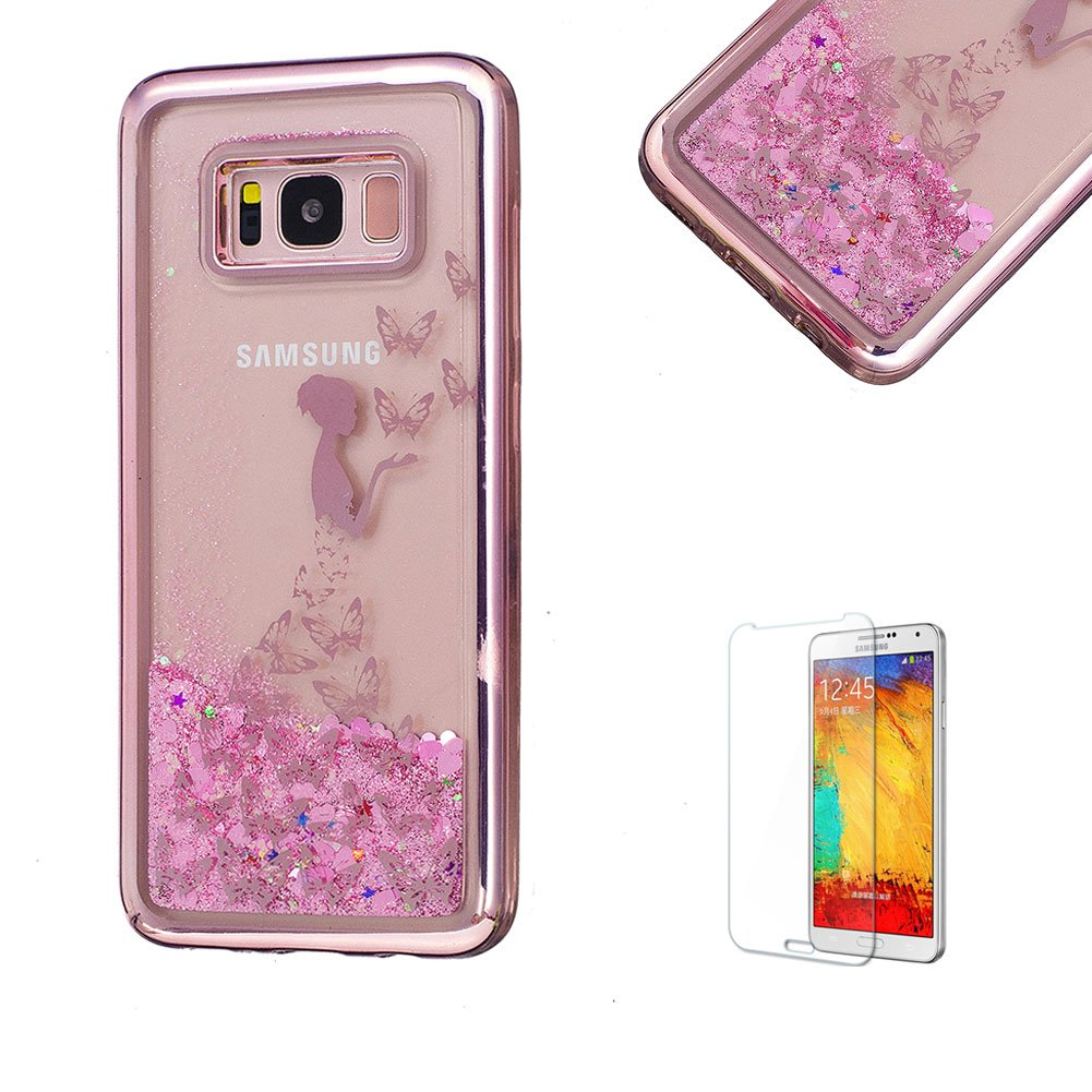 For Samsung Galaxy S8 Plus Case, Funyye Transparent Electroplate Plating Frame +New Creative Floating Water Liquid Small Love Hearts Design Color Change Soft TPU Shock Proof Case for Samsung Galaxy S8 Plus-Eiffel FUNYYE0026122
