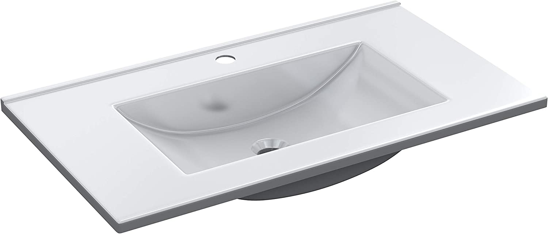 ARKITMOBEL 305920O - Lavabo PMMA Color Blanco, Pila lavamanos Rectangular baño, Medidas: 81,5 cm (Largo) x 13 cm (Alto) x 46 cm (Fondo)