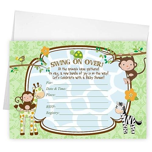 amazon com jungle safari baby shower invitations gender neutral set