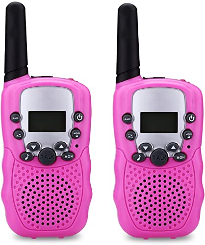 WERCOMIN Kids Walkie Talkies 2PCS T-388 22 Channel FRS GMRS Outdoor Long Range Two Way Radio Toys for Child with Built in LED Torch Pink