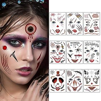 Halloween Tatuaje de la cara, FunPa 9 Halloween Pegatinas ...