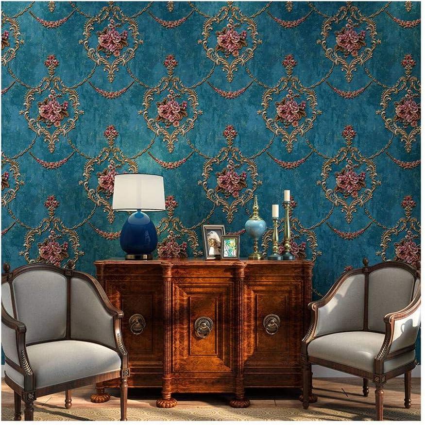 Amerikanisch 3D Linderung Nicht Gewebt Pastoral Europ/äischer Stil Luxuri/ös Vintage-Blau-0.53x10m JLWM Tapete Barock