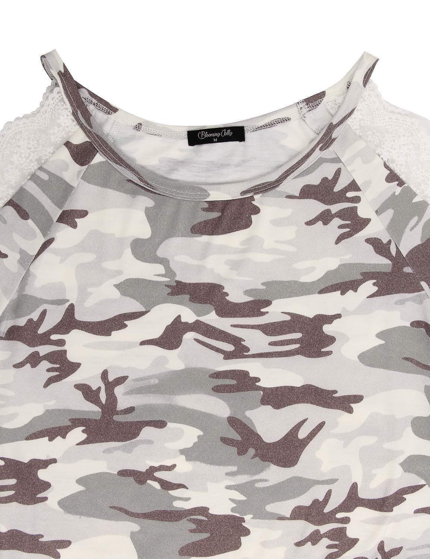 BMJL Women\'s Long Sleeve T Shirt Camo Print Cold Shoulder Tops Lace Cute Blouse(M,Camo Print)