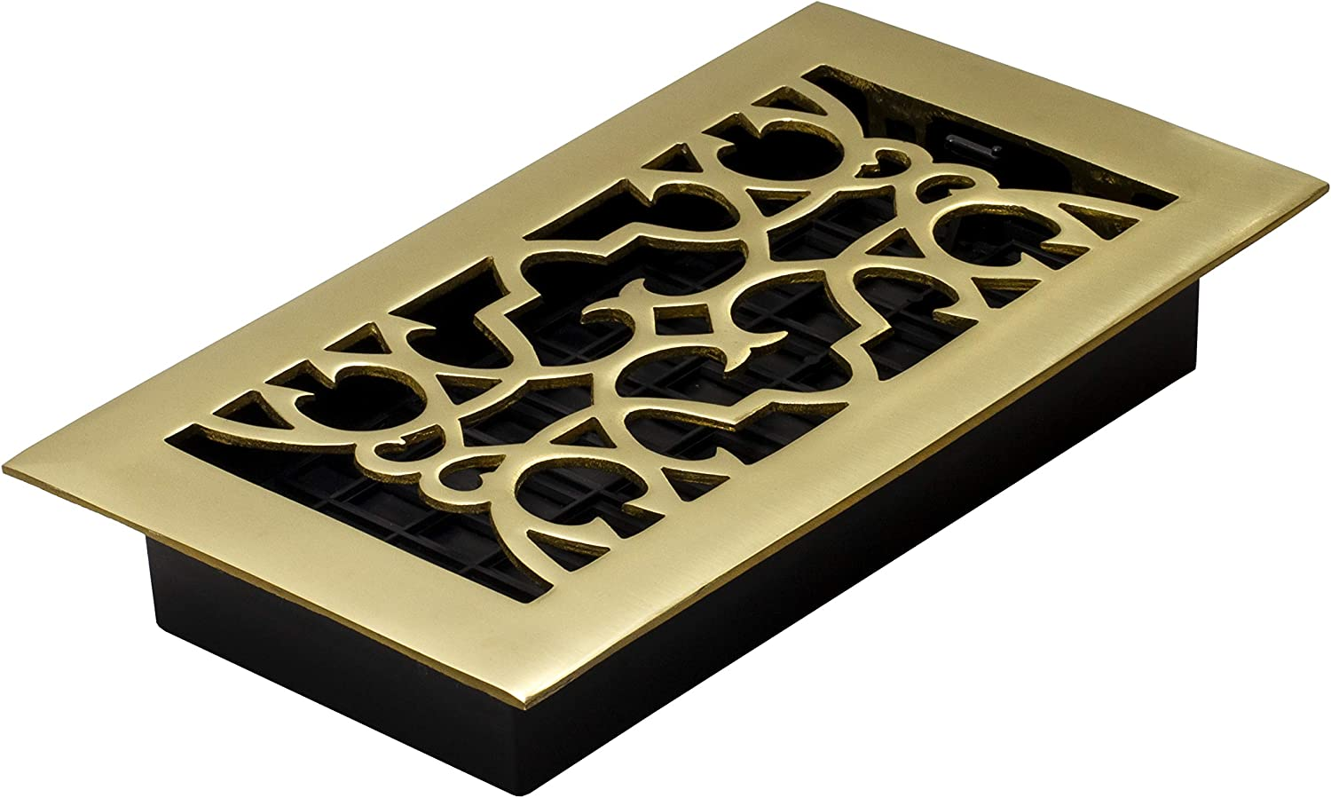 Decor Grates A408 4-Inch by 8-Inch Victorian Floor Register, Solid Brass