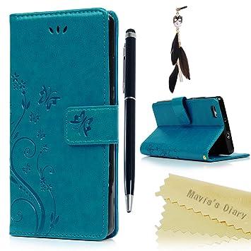 Funda Huawei P8 Lite (Versión 2015), Carcasa Libro PU Premium Leather Cuero impresión - Maviss Diary Flip Case Cover Con TPU Goma Flexible,Cierre ...