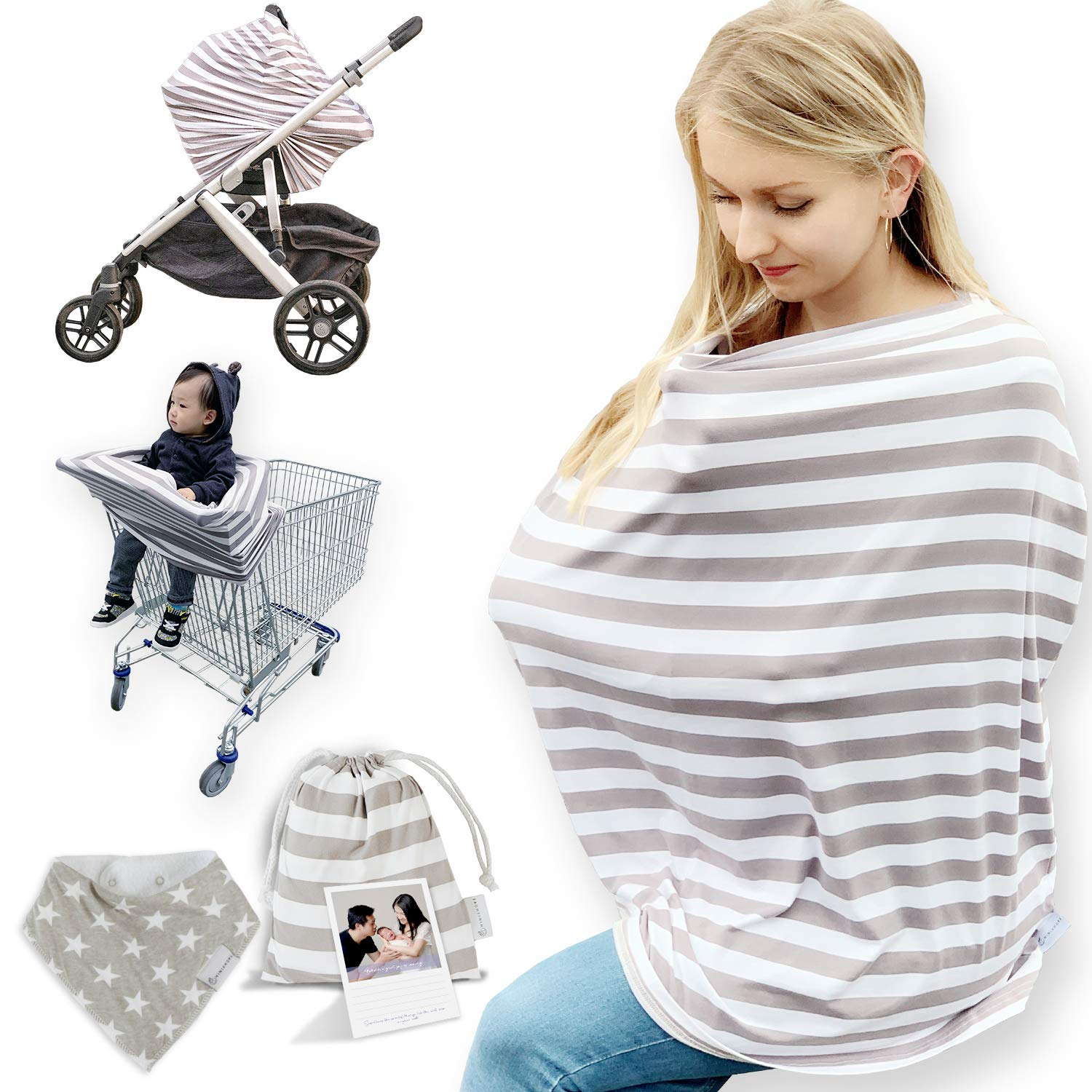 Bulary Breastfeeding Cover Nursing Cover Scarf Multi-purpose Breastfeeding Towel Mums Breastfeeding Apron Shawl Baby Car Seat Cover Breathable Cotton