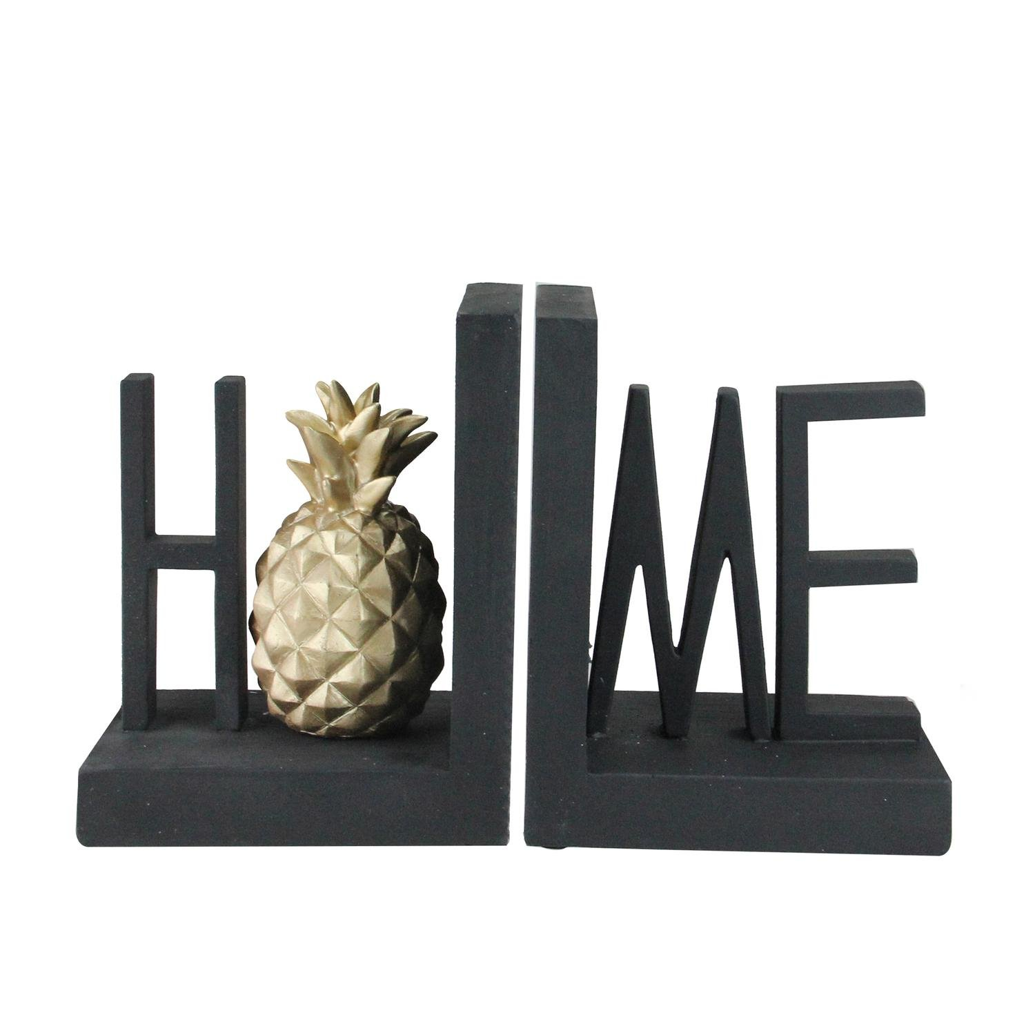 Roman 6.5'' Black Finish ''Home'' with Accented Golden Pineapple Bookends
