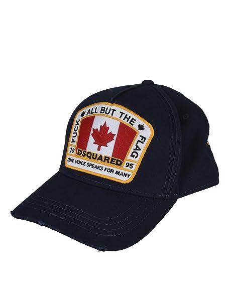 Dsquared2 cappello berretto regolabile uomo in cotone canada patch baseball  blu  Amazon.it  Abbigliamento e74d11036ae4
