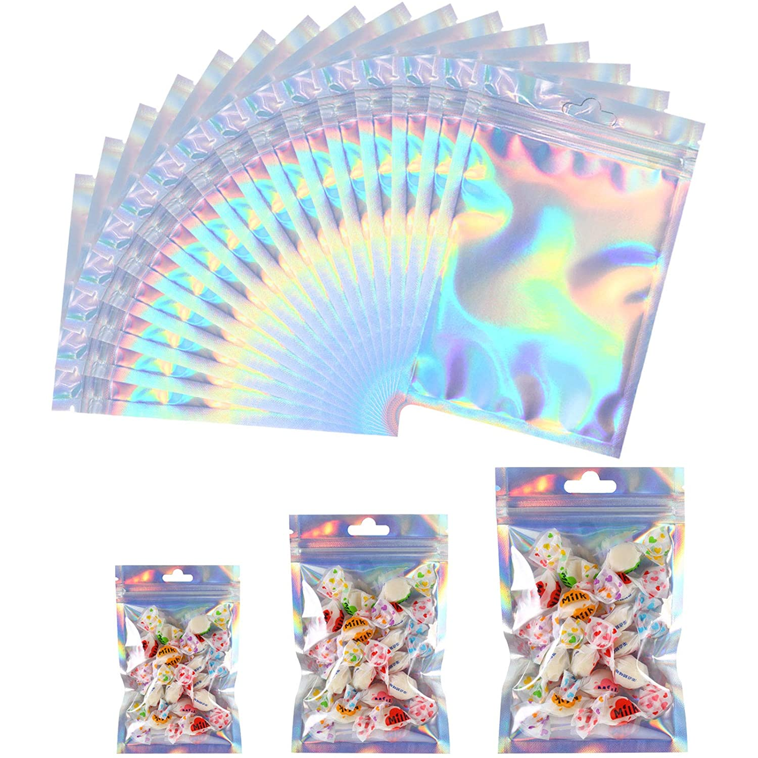 150 Pieces Mylar Zip Storage Bags with Hanging Hole Aluminum Foil Food Storage Bags Resealable Smell Proof Pouch Mylar Bags for Candy, Jewelry, Screw, 3 Sizes (Holographic Rainbow)