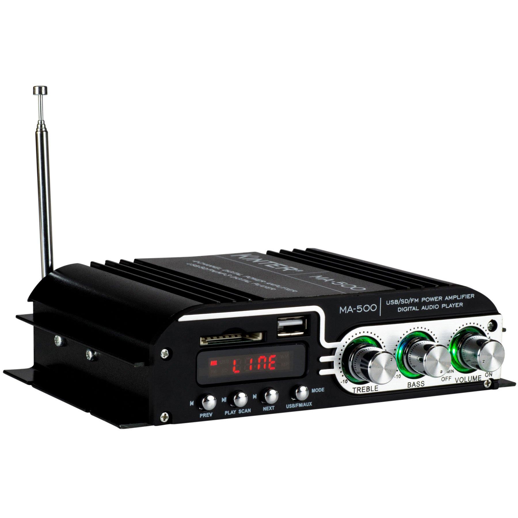 Kinter MA-500 4-Channel Mini Amplifier with Remote USB MP3 Media Card FM 4x30W