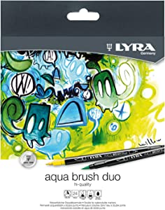 LYRA Aqua Brush Duo Brush Painters, Set of 24 Pens, Assorted Colors (6521240)