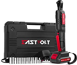 "12V Cordless Electric Ratchet Wrench Set, EASTVOLT 3/8 Inch 35ft-lbs Power Wrench Tool Kit, with Fast Charger, 2.0Ah Lithium-Ion Battery, 7-Pieces 3/8 Inch Metric Sockets and 1/4"" Adaptor, EVRW1201"