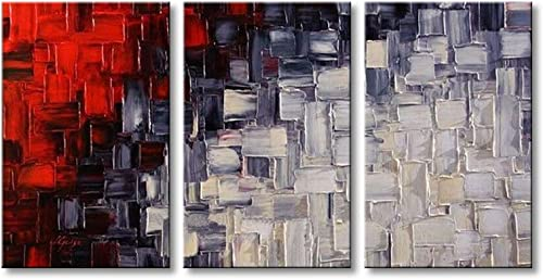 Extra Large Handmade Red and White Abstract Canvas Wall Art Modern Contemporary Acrylic Painting