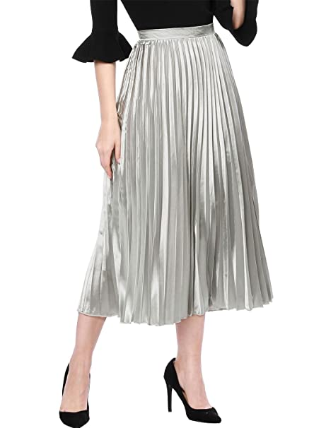 1930s Style Skirts : Midi Skirts, Tea Length, Pleated Allegra K Womens Zip Closure Accordion Pleated Metallic Midi Party Skirt $24.99 AT vintagedancer.com