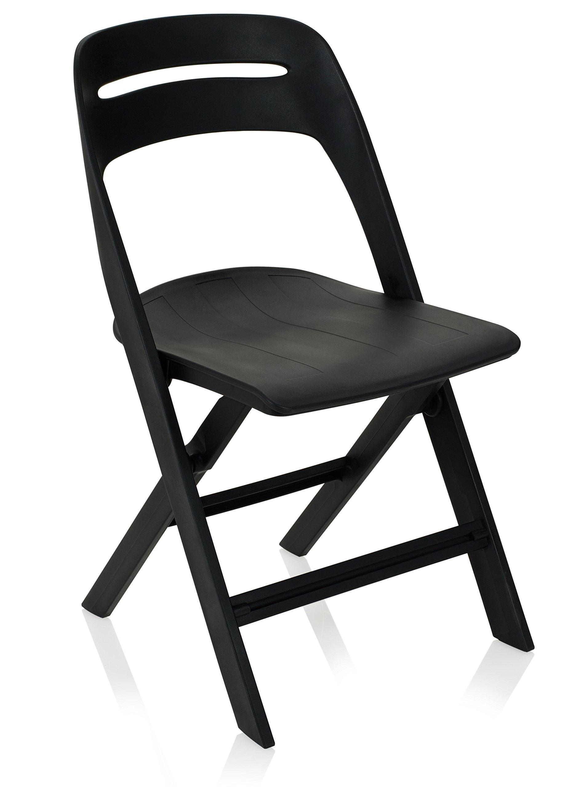 KI Novite Plastic Folding Chair (5 Pack), 20.5'' x 18.25'' x 32.75'', Black