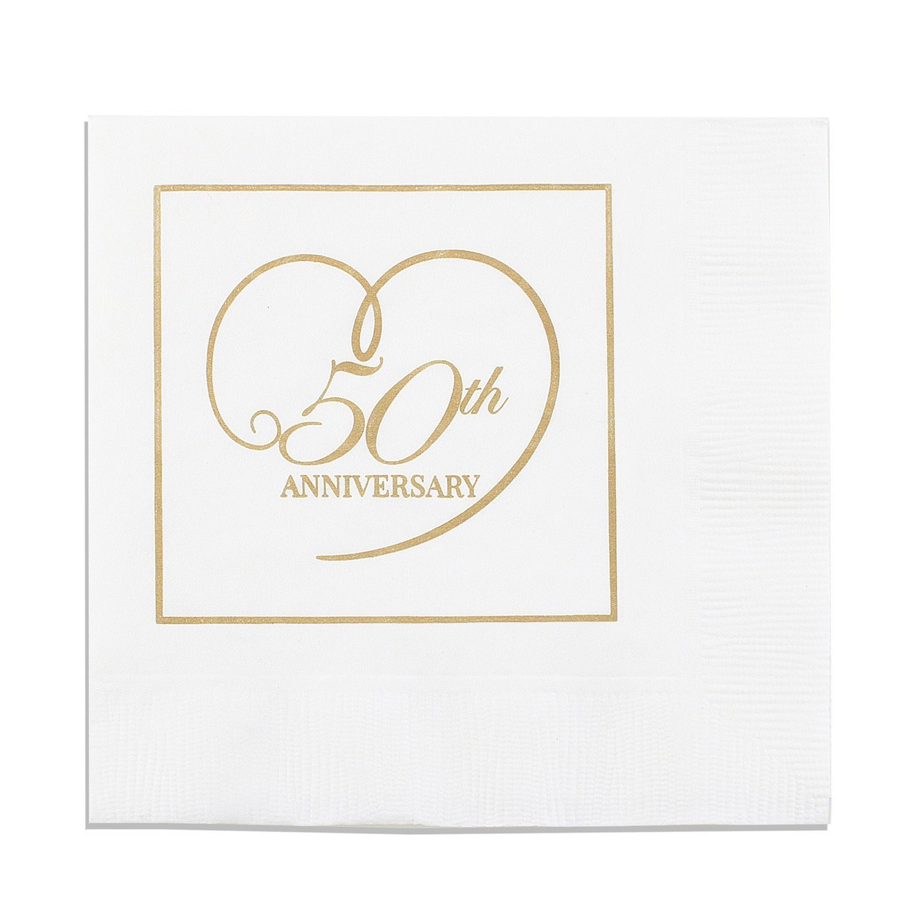 50th Anniversary Napkins Gold Heart on White 100