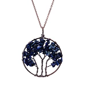 Handmade Tree of Life Pendant Wire Wrapped Necklace Lapis Lazuli Crystal Birthstone Necklace for Women