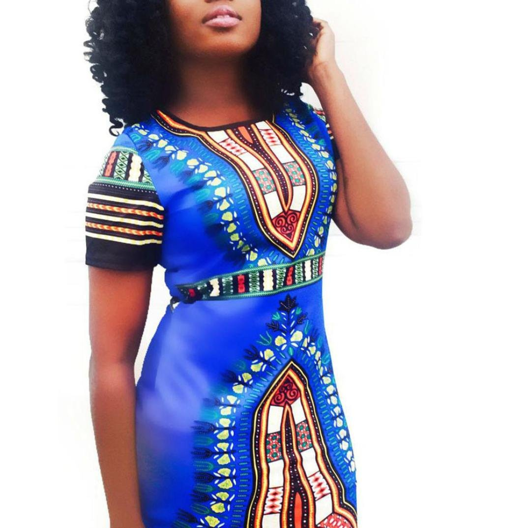 f78d26d316a Amazon.com  FAPIZI ♥ Women Dress ♥ Women Traditional African Print Dashiki  Bodycon Sexy Short Sleeve Dress (L