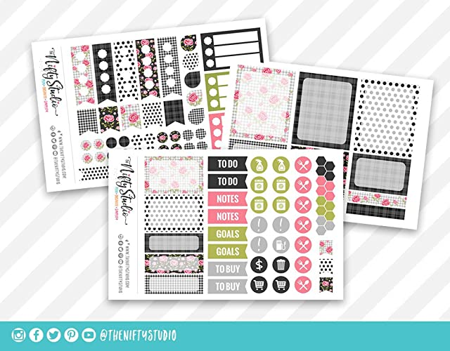 Amazon.com: Weekly Planning Stickers | Shabby Chic Roses in ...