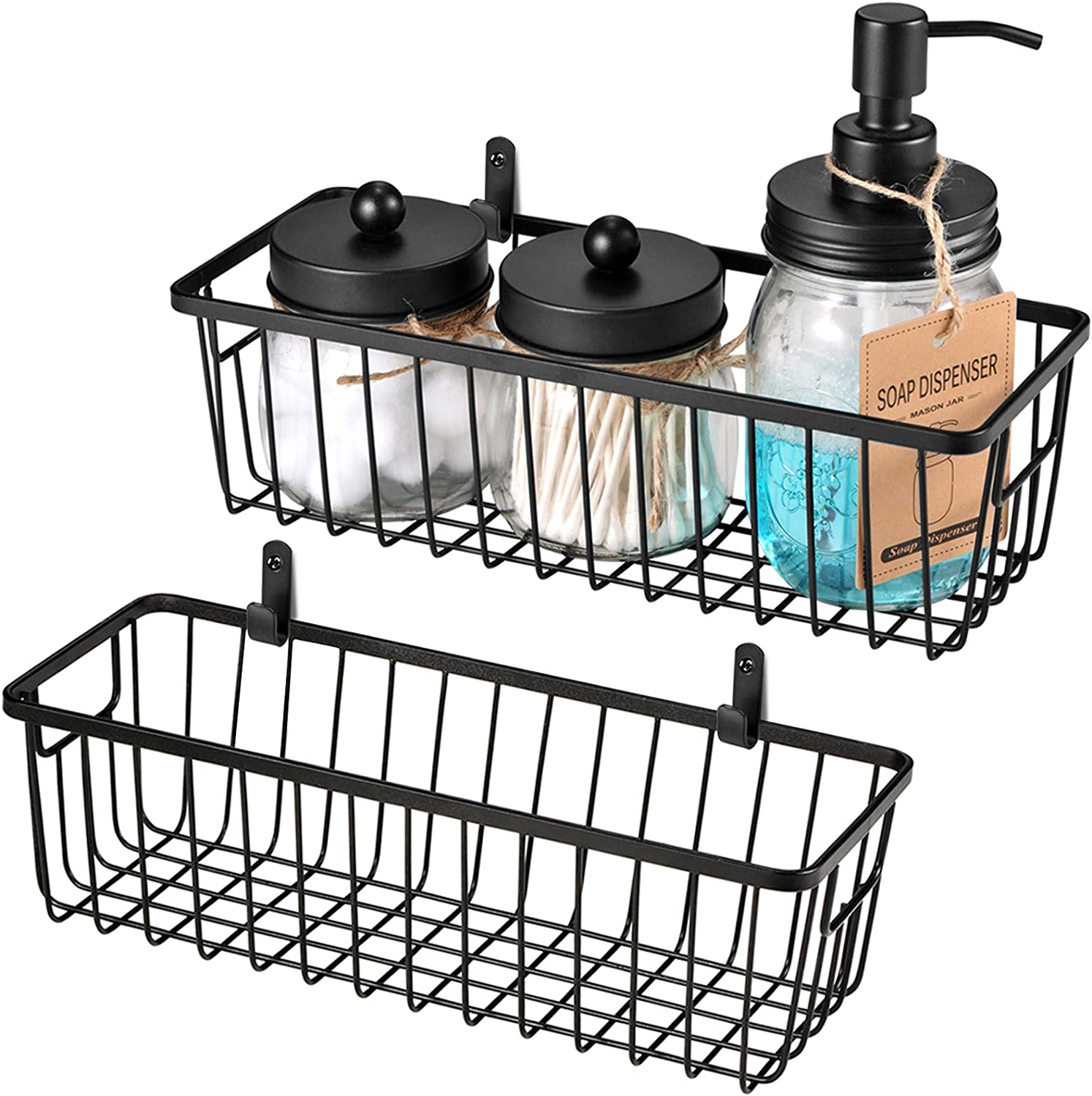 Farmhouse Decor Metal Wire Bathroom Storage Organizer Basket Bins - for Cabinets, Shelves, Closets, Vanity Countertops, Under Sinks, Pantry, Laundry Room, Garage - Small, 2 Pack (Black)