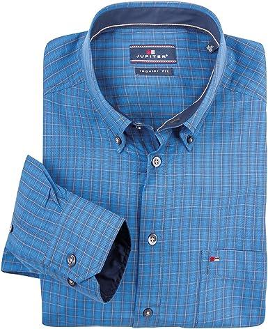 Jupiter XXL Camisa Manga Larga a Cuadros Azul Cian-Gris Claro ...