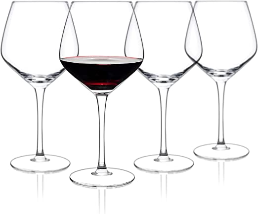 Amazon Com Luxbe Crystal Wine Glasses 21 Ounce Set Of 4 Large Handcrafted Red Or White Wine Glass 100 Lead Free Crystal Glass Professional Wine Tasting Burgundy Pinot Noir Bordeaux 650ml Wine Glasses