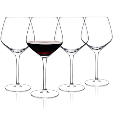 Luxbe - Crystal Wine Glasses 21-ounce, Set of 4 - Large Handcrafted Red or White Wine Glass - 100% Lead Free Crystal Glass - Professional Wine Tasting - Burgundy - Pinot Noir - Bordeaux - 650ml