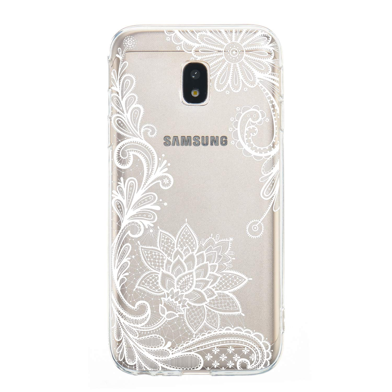SM-J330 Carols Coque Samsung Galaxy J3 2017 SM-J330 Fleur de Pivoine 01 Samsung Galaxy J3 2017 /Étui TPU Silicone Souple Coque