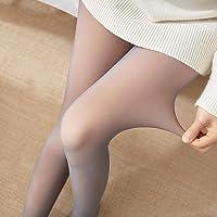 Godob Kvinnor förtjockade leggings, ben falska genomskinliga varma fleece-strumpbyxor kvinnor fleecefodrade tjocka…