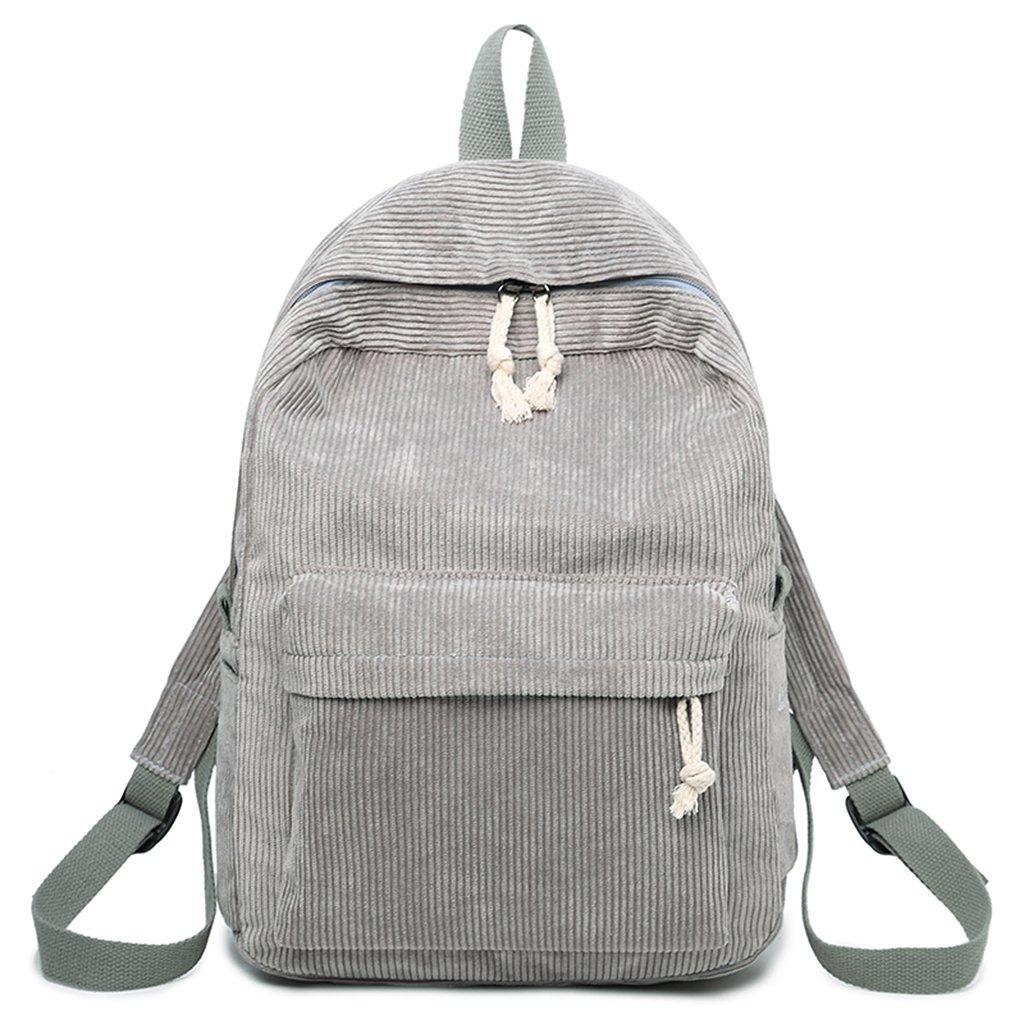 Upupo Travel Laptop Backpack, Corduroy Bagpack College School Computer Bag for Women & Men, 15.6 Inch Casual School Bookbag (Dark Grey)