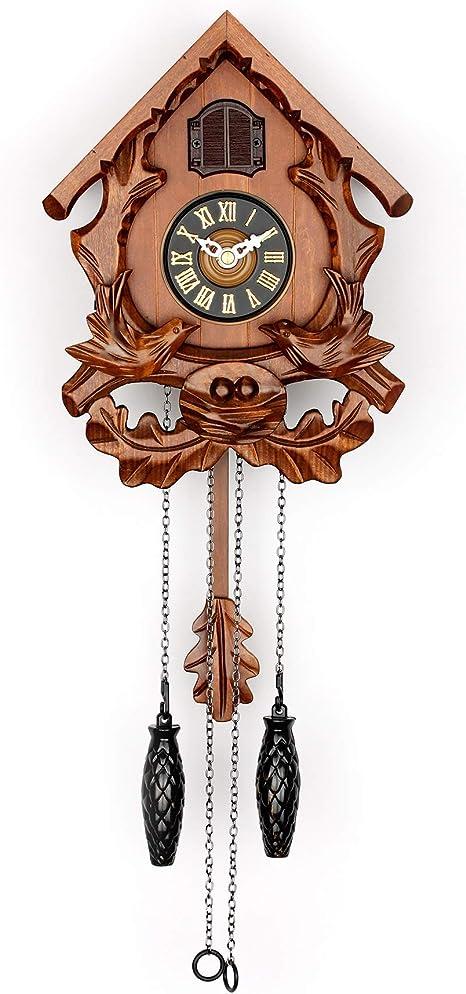 Reloj De Pared Cuco Con Modo Nocturno Pájaro Cantante Y Decoraciones De Madera Tallada Cereza Kitchen Dining