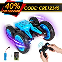Crenova Spin & Tumble RC Car Rechargeable Stunt Car Toy 7.5MPH 2-Sided Driving, 360 Spin & Tumble with Colorful LED Headlights