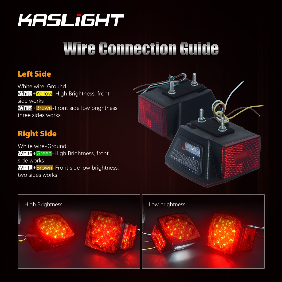 Kaslight Ip68 12v Boat Trailer Light Kit Led Submersible Diagram Also Wiring Color Code On H4 Headlight Lights And Utility Tail Stop