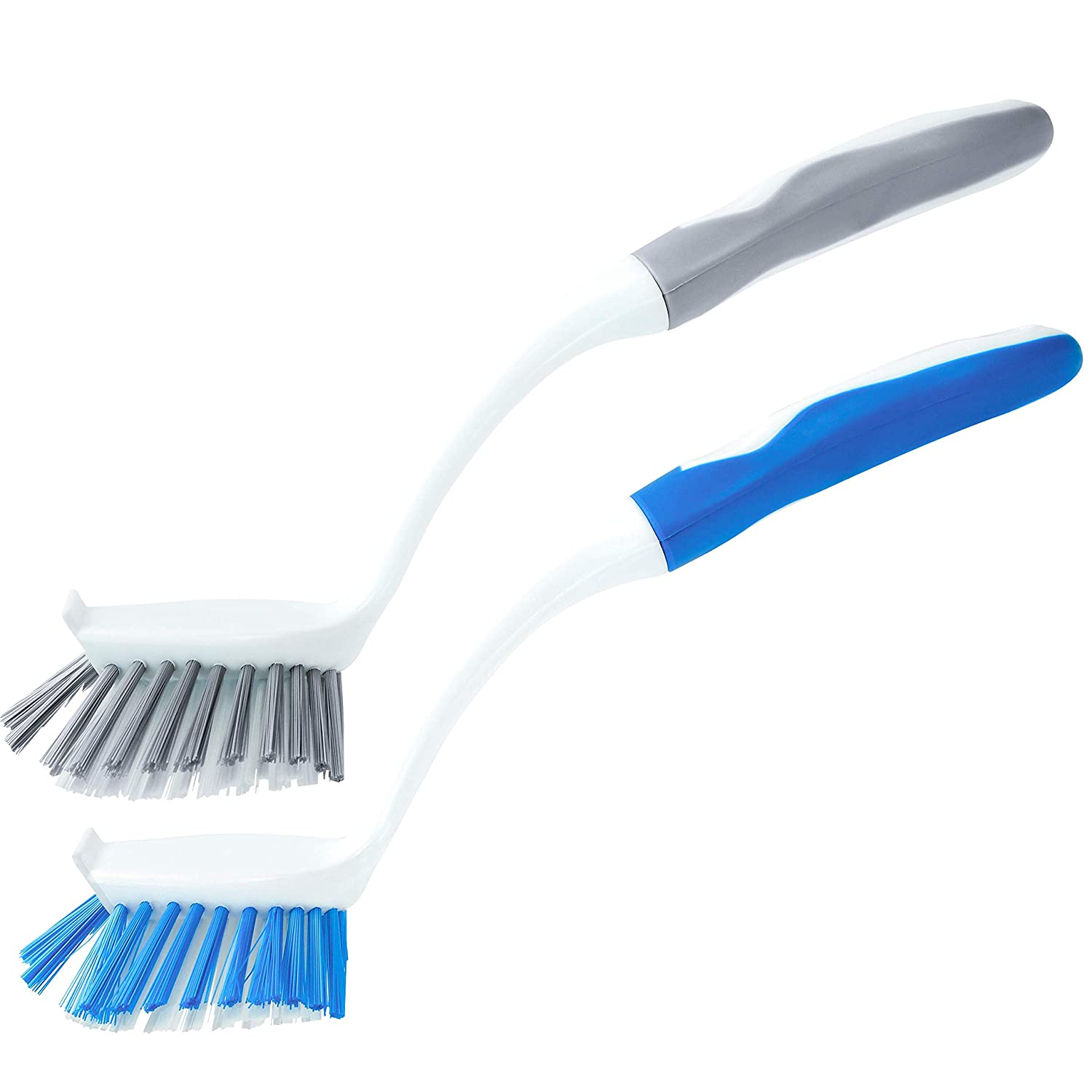 S&T 449801 Kitchen Dish Brushes - Scraper Edge, Comfortable Rubberized Grip - Grey/Blue, 2pk Schroeder & Tremayne Inc.
