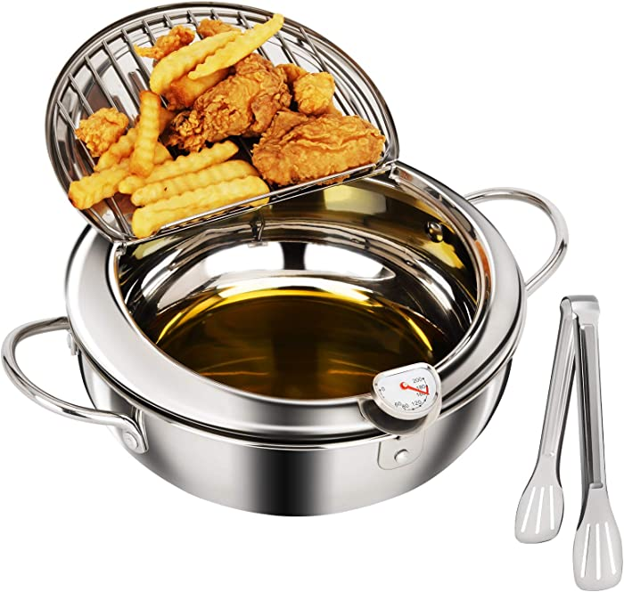 Tempura Deep Fryer Pot (3.2L/3.4qt) 18/8 Stainless Steel Deep Frying Pan with Thermometer and Oil Drip Drainer Rack 9.5 inch Japanese Style Tempura Fryer for Chicken, Shrimp, French Fries and More